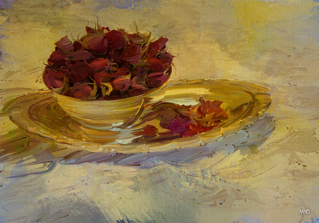 Painted bowl of roses